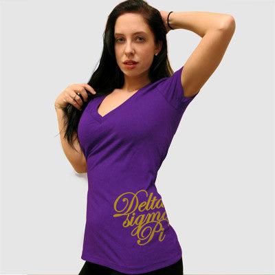 Delta Sigma Pi Deep V Sorority Printed Tee - Next Level 6640 - CAD