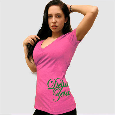 Delta Zeta Deep V Sorority Printed Tee - Next Level 6640 - CAD