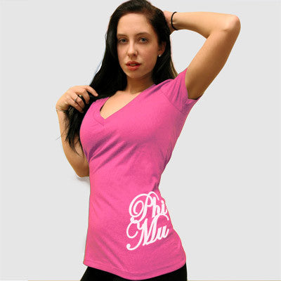 Phi Mu Deep V Sorority Printed Tee - Next Level 6640 - CAD