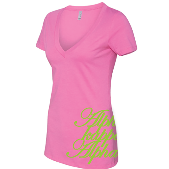 Alpha Kappa Alpha Deep V Sorority Printed Tee - Next level 6640 - CAD