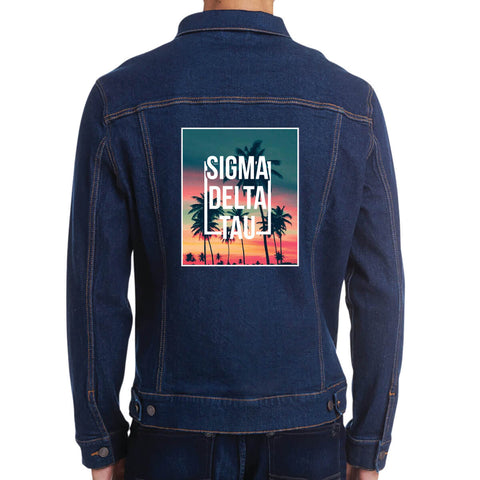 Fraternity and Sorority Printed Sunset Palm Tree Graphic Unisex Denim Jacket - Threadfast Apparel 370J - DTG