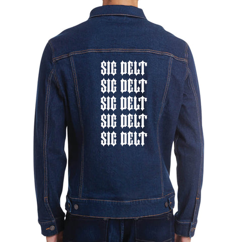 Fraternity and Sorority Printed Quintuple Organization Names Unisex Denim Jacket - Threadfast Apparel 370J - DTG