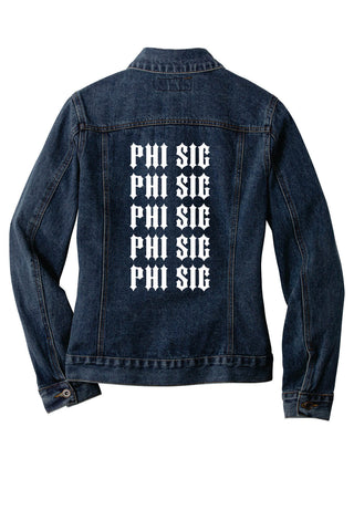 Fraternity and Sorority Printed Quintuple Organization Names Unisex Denim Jacket - Port Authority J7620 - DTG