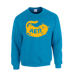 Fraternity Cat Design Printed Crewneck Sweatshirt - Gildan 18000 - CAD