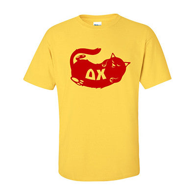 Fraternity Cat Design Printed T-Shirt - Gildan 5000 - CAD