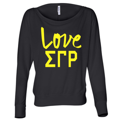 Sigma Gamma Rho Flowy Off-The-Shoulder Love Shirt - Bella 8850 - CAD
