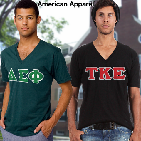 Fraternity Horizontal V-Neck Tee Package - American Apparel 2456W - TWILL