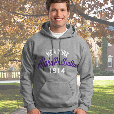 Alpha Phi Delta State and Date Printed Hoody - Gildan 18500 - CAD