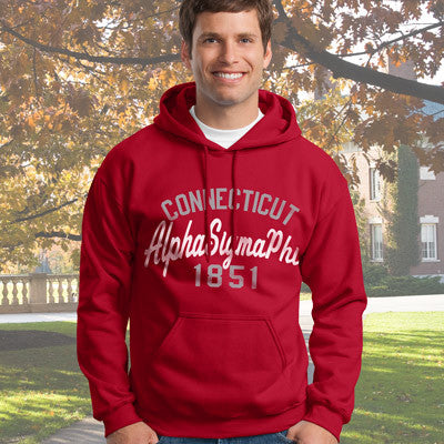 Alpha Sigma Phi State and Date Printed Hoody - Gildan 18500 - CAD