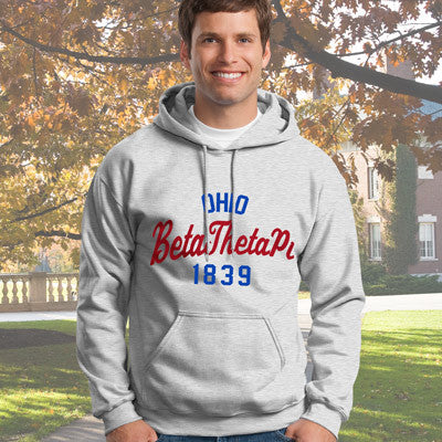 Beta Theta Pi State and Date Printed Hoody - Gildan 18500 - CAD
