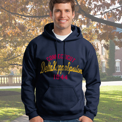 Delta Kappa Epsilon State and Date Printed Hoody - Gildan 18500 - CAD