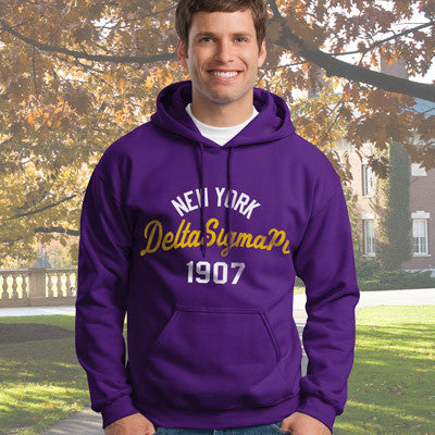 Delta Sigma Pi State and Date Printed Hoody - Gildan 18500 - CAD