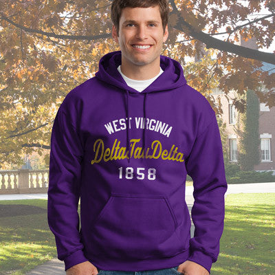 Delta Tau Delta State and Date Printed Hoody - Gildan 18500 - CAD