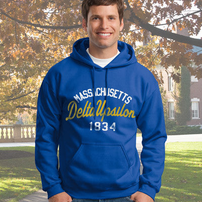 Delta Upsilon State and Date Printed Hoody - Gildan 18500 - CAD