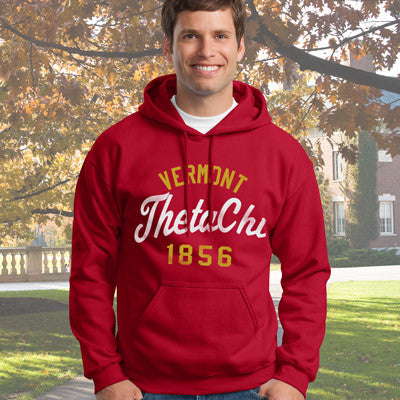 Theta Chi State and Date Printed Hoody - Gildan 18500 - CAD