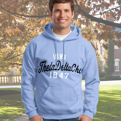 Theta Delta Chi State and Date Printed Hoody - Gildan 18500 - CAD