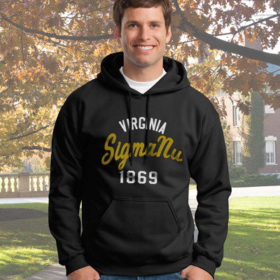 Sigma Nu State and Date Printed Hoody - Gildan 18500 - CAD