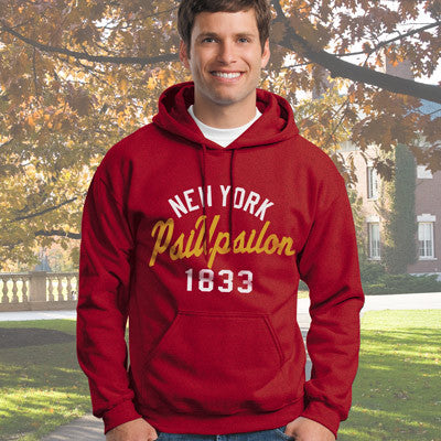 Psi Upsilon State and Date Printed Hoody - Gildan 18500 - CAD