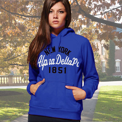 Alpha Delta Pi State and Date Printed Hoody - Gildan 18500 - CAD