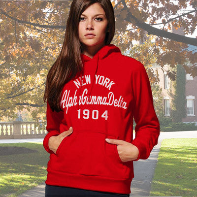 Alpha Gamma Delta State and Date Printed Hoody - Gildan 18500 - CAD