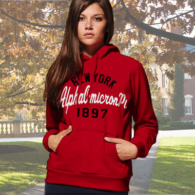 Alpha Omicron Pi State and Date Printed Hoody - Gildan 18500 - CAD