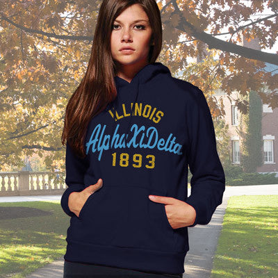 Alpha Xi Delta State and Date Printed Hoody - Gildan 18500 - CAD