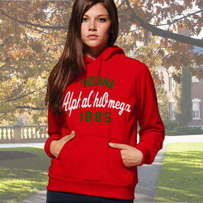 Alpha Chi Omega State and Date Printed Hoody - Gildan 18500 - CAD