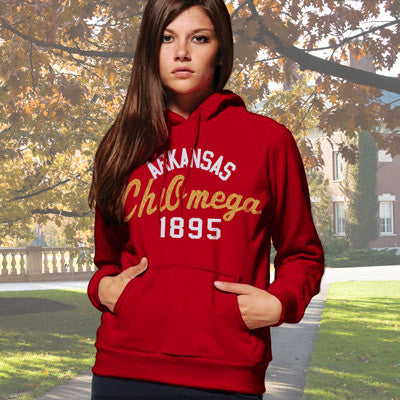 Chi Omega State and Date Printed Hoody - Gildan 18500 - CAD