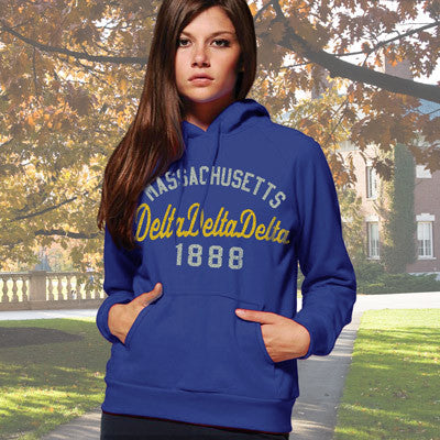 Delta Delta Delta State and Date Printed Hoody - Gildan 18500 - CAD