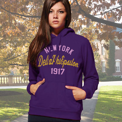Delta Phi Epsilon State and Date Printed Hoody - Gildan 18500 - CAD
