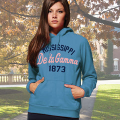 Delta Gamma State and Date Printed Hoody - Gildan 18500 - CAD
