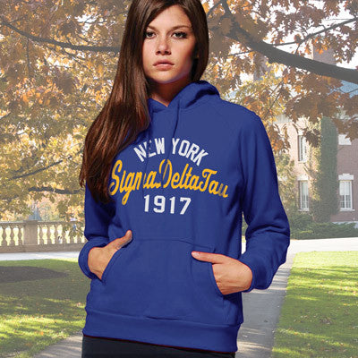 Sigma Delta Tau State and Date Printed Hoody - Gildan 18500 - CAD