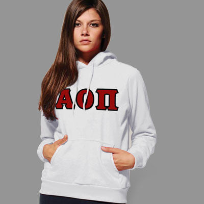 Alpha Omicron Pi Hooded Sweatshirt - Gildan 18500 - TWILL