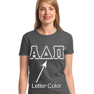 Sorority Printed Greek Outline Font T-Shirt - Gildan 5000 - CAD