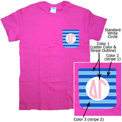 Sorority Striped Monogram Crocket T-Shirt - Gildan 5000 - SUB