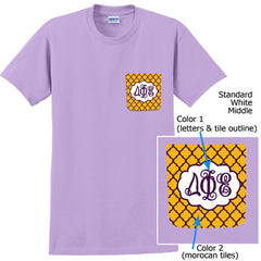 Sorority Crocket T-Shirt with Script Monogram - Gildan 5000 - SUB