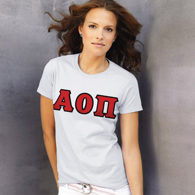 Alpha Omicron Pi Ladies T-Shirt - Gildan 2000L - TWILL