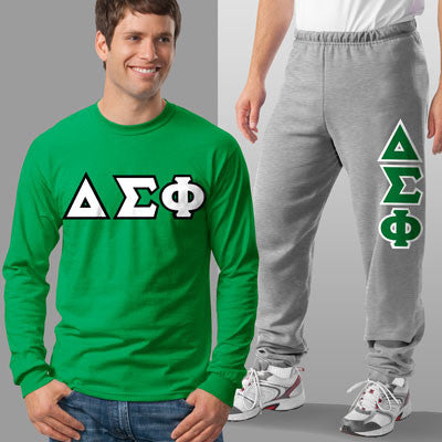 Delta Sigma Phi Longsleeve / Sweatpants Package - TWILL