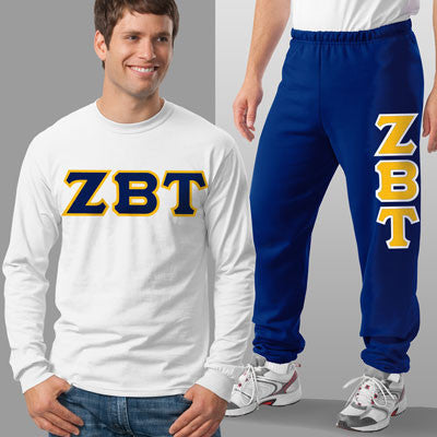 Zeta Beta Tau Longsleeve / Sweatpants Package - TWILL