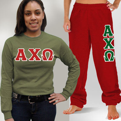 Alpha Chi Omega Longsleeve / Sweatpants Package - TWILL