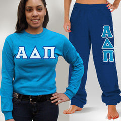 Alpha Delta Pi Longsleeve / Sweatpants Package - Gildan - TWILL