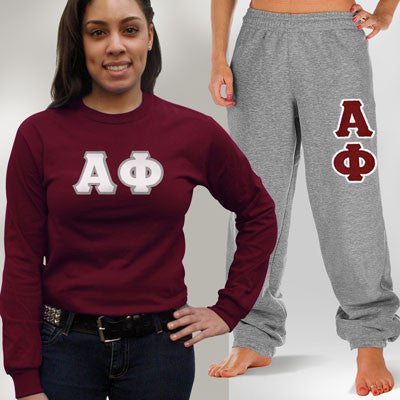 Alpha Phi Longsleeve / Sweatpants Package - TWILL