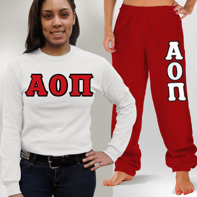 Alpha Omicron Pi Longsleeve / Sweatpants Package - TWILL