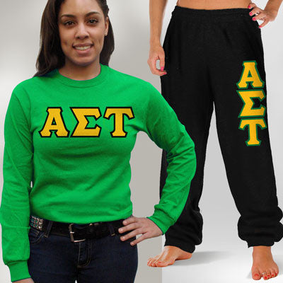 Alpha Sigma Tau Longsleeve / Sweatpants Package - TWILL
