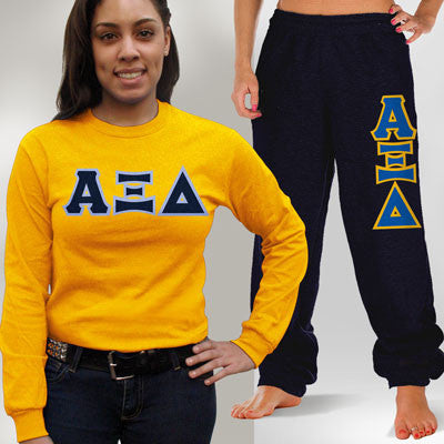 Alpha Xi Delta Longsleeve / Sweatpants Package - TWILL