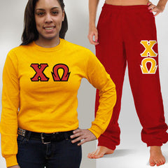 Chi Omega Longsleeve / Sweatpants Package - TWILL