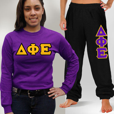 Delta Phi Epsilon Longsleeve / Sweatpants Package - TWILL