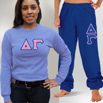 Delta Gamma Longsleeve / Sweatpants Package - TWILL