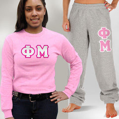 Phi Mu Longsleeve / Sweatpants Package - TWILL