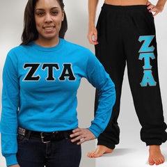 Zeta Tau Alpha Longsleeve / Sweatpants Package - TWILL